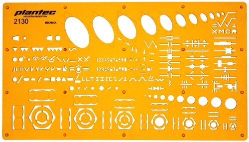 Mechanical Engineering Ellipse Screws Nuts Symbols Drawing Template Stencil by Plantec by Plantec