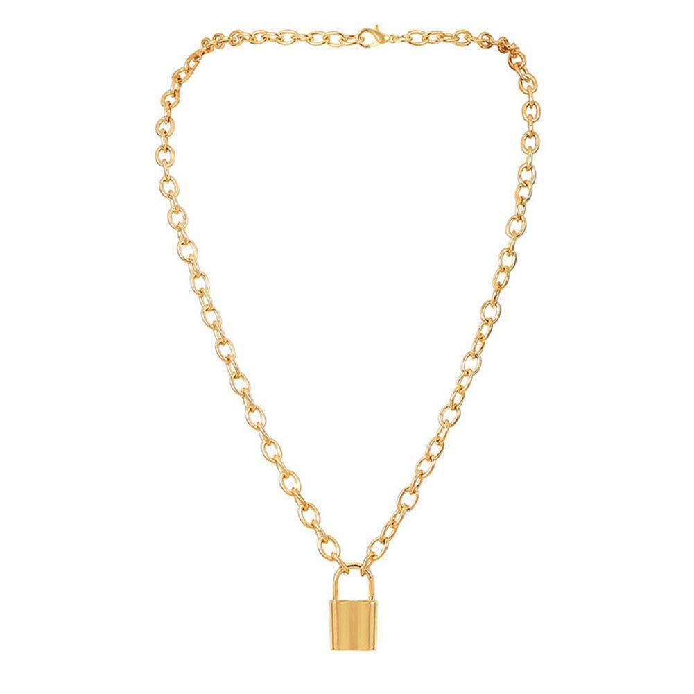 Fishyu 1 Pz Donna Lady Collana Catena Serratura Shape Pendente Vintage Decoration Gioielli Golden