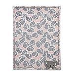 Lambs-Ivy-Calypso-PinkGray-Koala-Leaf-Print-Luxury-Coral-Fleece-Baby-Blanket