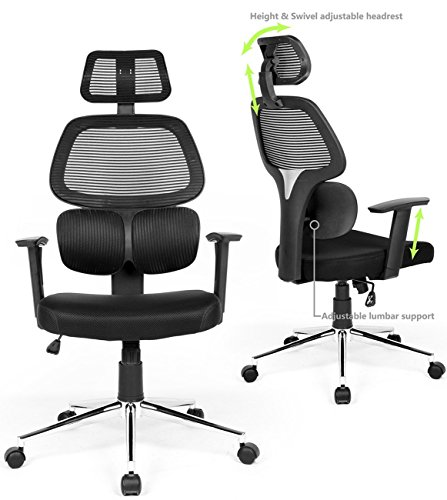 Ergonomic Back High Chair (Ergonomic Mesh Office Chair High Back Swivel Computer Desk Chair Office Rolling Chairs Lumbar Support Adjustable Backrest Headrest Armrest and Seat Height for Home Office Conference)