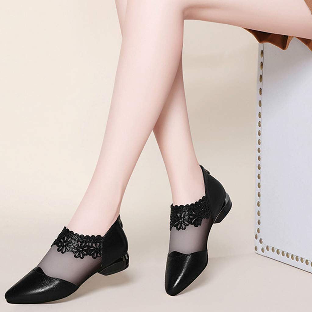 Jiayit Womens Shoes for Women Fashion Casual Solid Pointed Toe Slip On Square Heel Lace Leather Shoes Holiday Dating Sandals