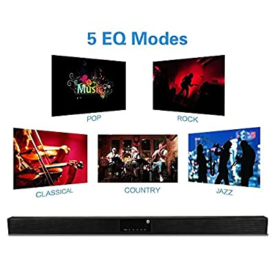 TV Sound Bar TRANSPEED Bluetooth Soundbar for TV 40W(RMS) 2.0 Channel Wireless Home Theater Speaker, Strong Bass, 5EQ Mode, Al Metal Enclosed, with Remote Control USB / SD Card playing Wall Mountable