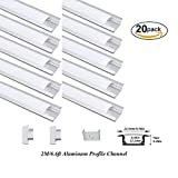 Hanks 20Pack 2M/6.6ft 24.5X7mm Shallow Flush Mount Aluminum Channel Profile Extrusion for Wall and Ceiling with Milk Cover End Caps Mounting Clips (20X2M Milk)