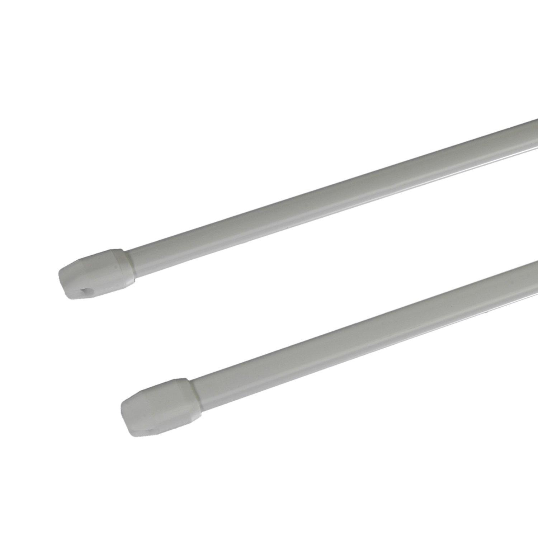 Liedeco Scheibenstange Standard, 11 mm Cafehausstange, 2 Stk weiß, 080-140 cm ausziehbar (10)