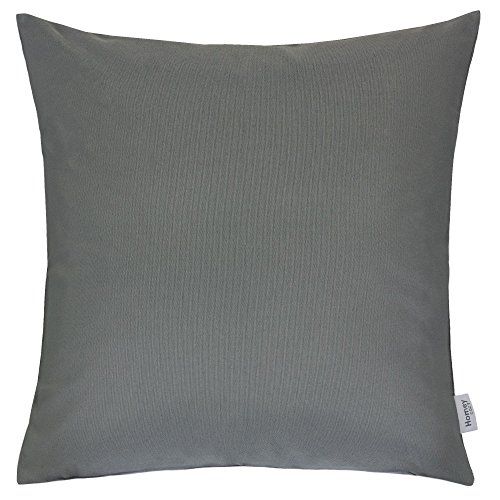 Homey Cozy Outdoor Throw Pillow Cover, Classic Solid Dark Gray Large Pillow Cushion Water/UV Fade/Stain-Resistance For Patio Lawn Couch Sofa Lounge 20x20, Cover Only