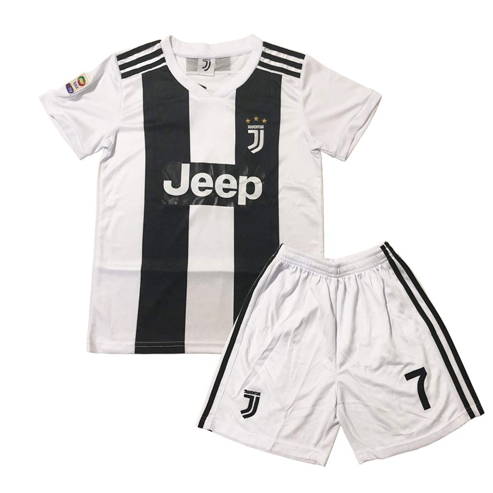 GLL SPORT New 2018-2019 Home Juventus #7 Ronaldo White Soccer Football Jersey for Kids Youth Shirt Short Socks Kit