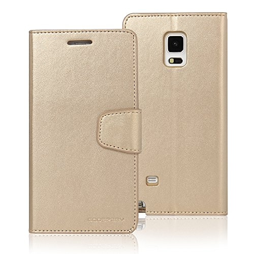 (Galaxy Note 4 Case, [Drop Protection] Goospery Sonata Diary [Wallet Type] Premium Soft Synthetic Leather Case [ID/Credit Card Slots + Cash Pocket] Cover for Samsung Galaxy Note 4 (Gold) NT4-SON-GLD)