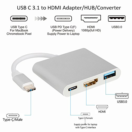 USB C 3.1 to HDMI Adapter - Veetop 3-in-1 Multiport Type C to HDMI Hub Converter 4K with 3.0 USB Port and Type C Charging Port for MacBook/ChromeBook Pixel/USB-C Devices to HDTV/Projector(Silver) by Veetop