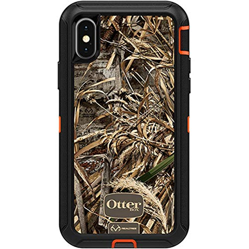 (Rugged Protection OtterBox Defender Series Case for iPhone X & iPhone Xs (ONLY) - Case Only - (Blaze Orange/Black/MAX 5 CAMO))