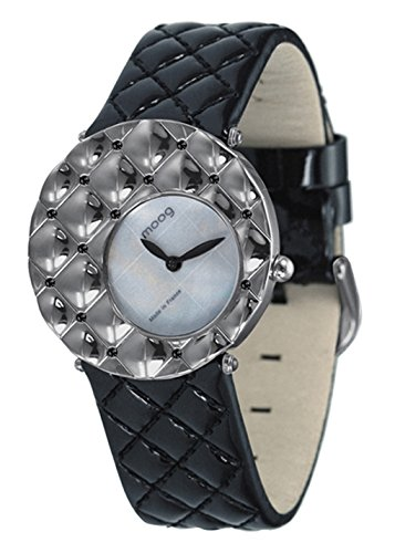 Moog Paris Fascination Women's Watch with White Mother of Pearl Dial, Black Genuine Leather Strap & Swarovski Elements - M45412-009