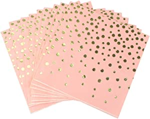 Pink Luncheon Paper Napkins Stamped with Sparkle Gold Foil Dots - Folded 6.5 x 6.5 inch/Unfolded 13 x 13inch for Dinner Party, Cocktail, Bridal/Baby Shower, Birthday Party (48 Count)