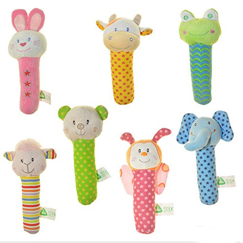 4 PCS Soft Plush Animal Dolls Baby Rattles Musical Toy, Infant Keepsake Educational Toy Activity Play Toys Interactive Toy Handbell Hand Rattles for Crib and Canopy