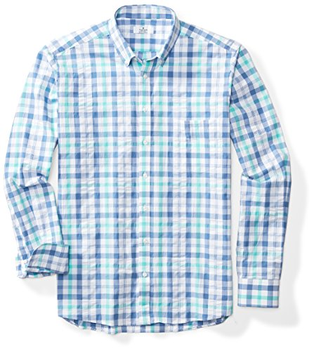 (Clifton Heritage Men's Big&Tall Classic Fit Long-Sleeve Button-Down Casual Plaid Seersucker Shirt LT Blue&Green)