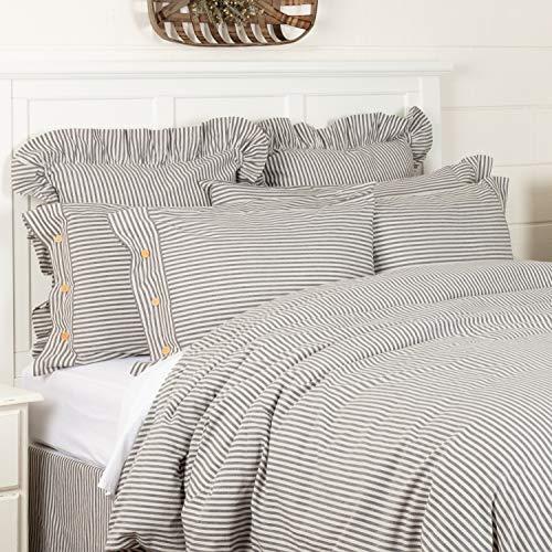 Piper Classics Farmhouse Ticking Gray Stripe King Duvet Cover, 92″ x 108″, Gray & Off White Comforter Cover, Soft, Comfortable Farmhouse Bedding