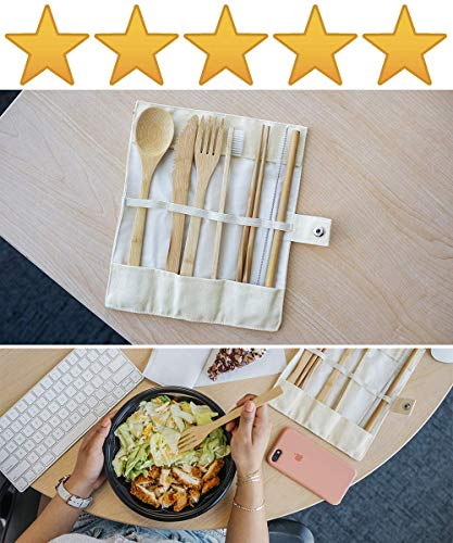 EccoxTravel Bamboo Utensils Cutlery Travel Set | Portable Reusable Eco-Friendly Flatware Pack | Premium Outdoor Wooden Tableware for Kids & Adults | Spoon, Fork, Knife, Straw, Chopsticks,Toothbrush,