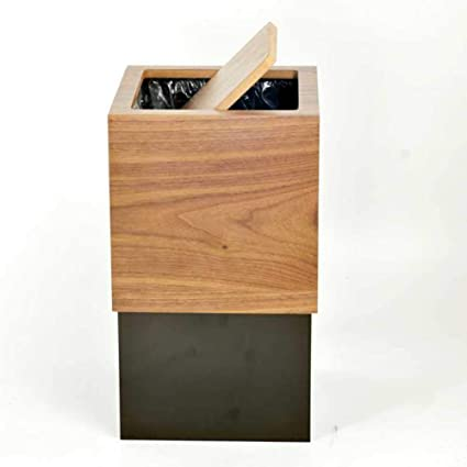 Amazoncom Cnzxco Modern Wooden Garbage Bin With Lid Trash Can