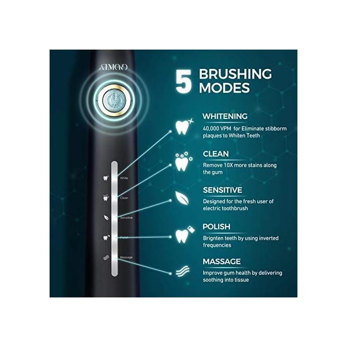 515%2BMbwK9eL ALTA VIBRACIÓN DE 40000 VPM: HP126A cepillo de dientes sónico equipado con un motor motorizado líder en el mundo para generar 40,000 MICRO CEPILLOS PER MINUTE; Disolver la suciedad profunda de los dientes de manera efectiva. El efecto de limpieza 10X que el cepillo de dientes manual y 3X que el cepillo de dientes eléctrico ordinario; 7 DÍAS para blanquear los dientes y 14 DÍAS para dientes más saludables 5 MODOS DE CEPILLADO OPCIONALES: El modo BLANQUEO ayuda a blanquear los dientes mediante el uso de hasta 40,000 VPM; LIMPIEZA puede eliminar 10 veces más manchas a lo largo de la encía; SENSIBLE está diseñado para el nuevo usuario del cepillo de dientes electricos; MASAJE mejora la salud de las encías al proporcionar micro-explosiones relajantes en los tejidos para mejorar la circulación PULIDO ayuda a los dientes brillantes usando frecuencias invertidas para eliminar las manchas superficiales 8 * CABEZALES DE CEPILLO 3D DURAN 2 AÑOS: HP126A cepillo de dientes sonic viene con 8 cabezales de recambio diseñados por la compañía DuPont - Un líder mundial en el campo de la calidad y la ciencia de los materiales; Cada cabezal de cepillo dura hasta 3 meses, por lo que será más de 2 años para 8 en total; El cepillo está diseñado de forma 3D y los cabezales pueden adaptarse perfectamente a las encías y la topografía de los dientes, son fáciles de alcanzar profundamente entre los dientes