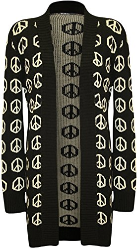 WearAll Womens Peace Sign Pattern Long Sleeve Cardigan - Black - US 4-6 (UK (Peace Sign Sweater)