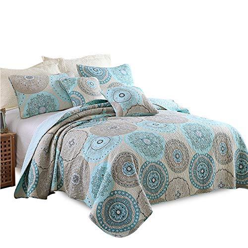 Lecoda Cotton Jacquard Style Reversible 3-Piece Patchwork Bedspread Queen Size Quilt Sets (Aqua Boho Mediterranean) -