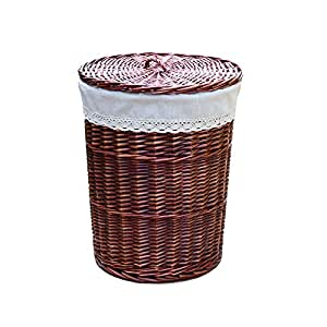 Rurality round wicker laundry basket with lid and linen liner large home kitchen - Round wicker hamper with lid ...
