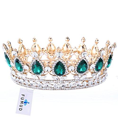 FUMUD Hot Crystal Tiara Crowns Hair Jewelry Rhinestone Wedding Pageant Bridal Headband (Gold) Hot Crystal