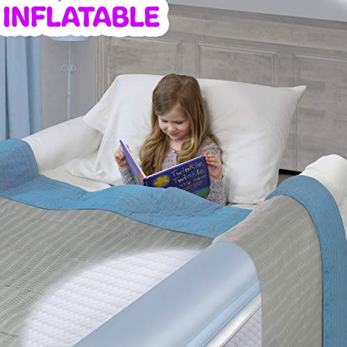 Inflatable Travel Bed Rails for Toddlers. Portable Bed Rail Bumper. Kids Safety Guard for Bed. Great for Home, Hotel, Travel. (2-Pack) (Size Bed Bed Full Side Rails For)