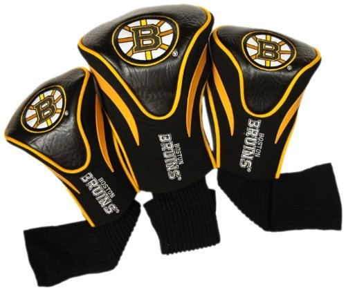 Team Golf NHL Boston Bruins Contour Golf Club Headcovers (3 Count), Numbered 1, 3, & X, Fits Oversized Drivers, Utility, Rescue & Fairway Clubs, Velour lined for Extra Club Protection ()
