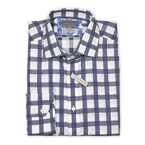 Thomas Dean Men's Long Sleeve Sport Shirt, X-large, blue and white exploded check