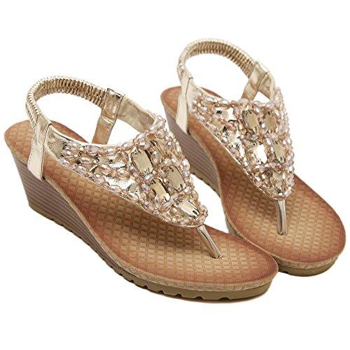 De las mujeres chancletas Zapatos de sandalia De estilos de Bohemia de Rhinestones de cuentas Oro