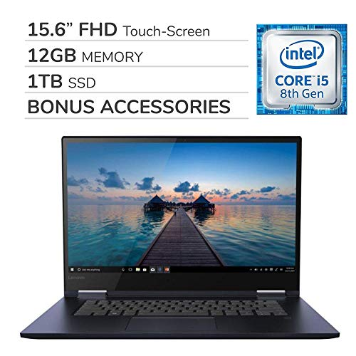 "Lenovo Yoga 730 2-in-1 2019 15.6"" FHD Touch-Screen Laptop Notebook Computer,Intel 4-Core i5-8265U,12GB RAM,1TB SSD,Backlit Keyboard,No DVD,Wi-Fi,Bluetooth,Webcam,HDMI,Win 10 Home,Bonus Accessories"