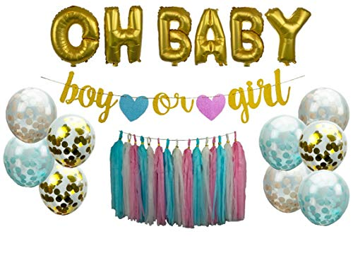 megbee Gender Reveal Party Supplies   Baby Shower Decorations Party Kit   Twin Boy and Girl   Baby Announcement - OH Baby Foil Balloons, Confetti Balloons, Tassel Banner, Backdrop, Glitter -