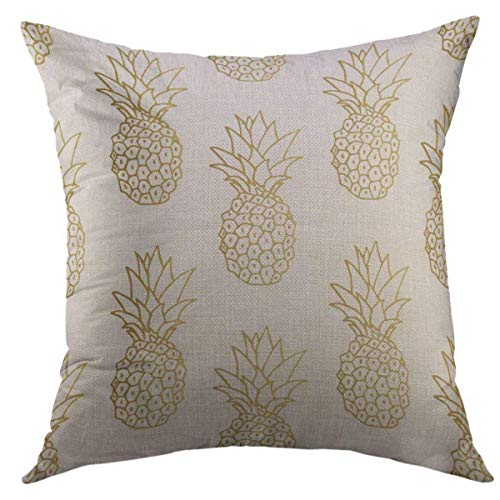 Mugod Decorative Throw Pillow Cover for Couch Sofa,White Tropical Gold Pineapple Green Golden Fruit Home Decor Pillow Case 18x18 Inch (Gold And Cushions Green)