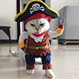 Halloween Funny Pet Pirate Costume Dog Cat Dressing up Party Apparel Clothing Suit with Hat (S)
