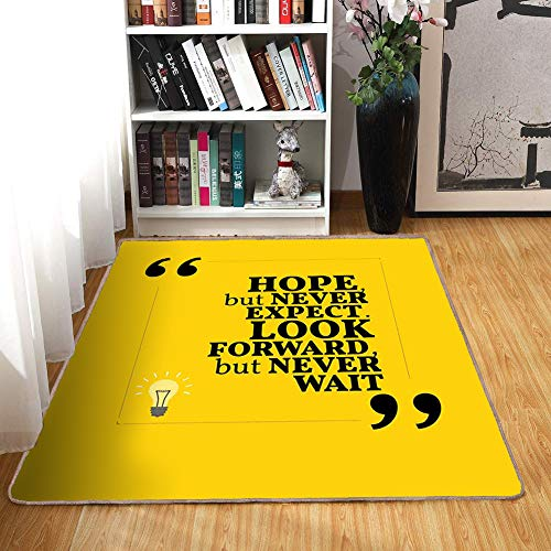 (Rug,Floor Mat Rug,Hope,Area Rug,Message in Quotation Marks with Square Frame on Yellow Backdrop,Home mat6'x8',Yellow Pale Yellow and Black,Rubber Non Slip,Indoor/Front Door/Kitchen and Living Room/Bed)