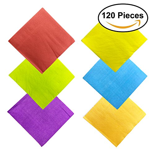 Colorful Cocktails (120pcs Paper Cocktail Beverage Napkins Fiesta Napkins Colored Birthday Napkins Party Decorative Napkins 2 Ply, 6 Colors)