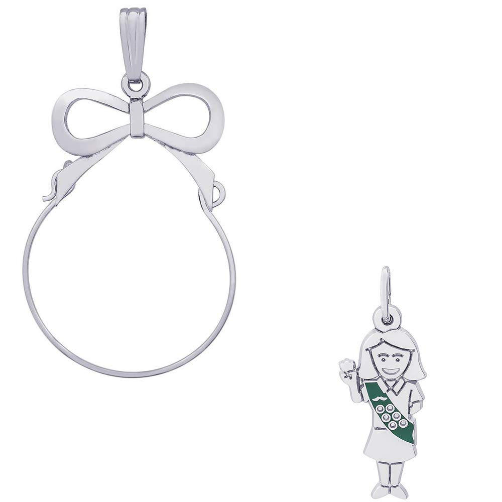 Rembrandt Charms Enamel Painted Girl Scout Charm on a Rembrandt Charms Bow Charm Holder by Rembrandt Charms