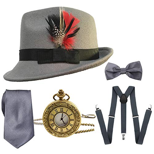 1920s Mens Gatsby Costume Accessories,Manhattan Fedora Hat w/Feather,Vintage Pocket Watch,Suspenders Y-Back Trouser Braces,Pre Tied Bow Tie,Tie (Grey)]()