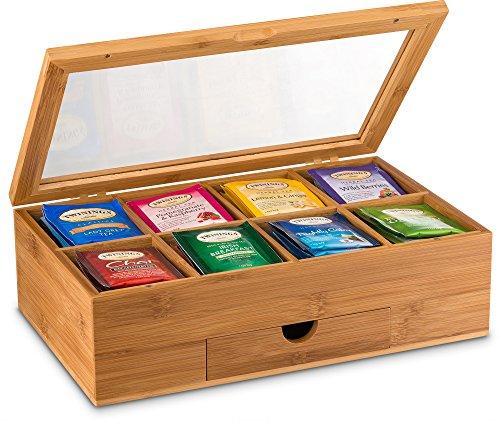 Tea Organizer Bamboo Tea Box with Small Drawer 100% Natural Bamboo Tea Chest - Great Gift Idea - By Bambusi by Bambüsi (Image #5)