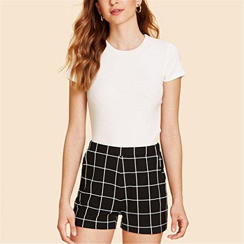 vita Black alta neri a dritte scozzesi quadri coste eleganti elastiche Pantaloncini in Pantaloncini a a coste Donna Pantaloncini media vIpwq