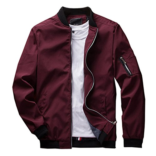 CRYSULLY Men's Windbreaker Casual Classic Slim Bike Motorcycle Coat Outwear Bomber Jacket Coat Red