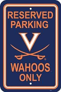 "Brand New Virginia Cavaliers 12"" X 18"" Plastic Parking Sign"