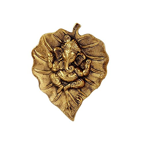 HANDICRAFTS PARADISE Hanging Golden Ganesha Placed On A Antique Finish Leaf in Metal