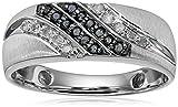Men's 10k White Gold Black and White Diamond (1/4cttw) Ring, Size 10.5