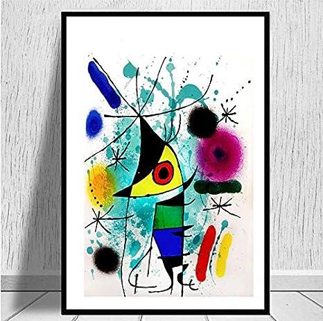 Pintor famoso Joan Miro Pinturas de arte moderno Cuadro abstracto Cartel retro e impresiones Arte de la pared Lienzo Cuadros de pared para sala de estar Decoración del hogar 50X70 cm sin marco