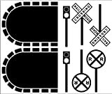 Train Track Tunnels/Signs Wall Decals Stickers Removable Wall Art, BLACK
