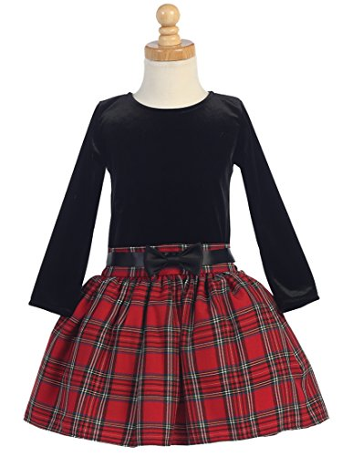 Girls Holiday Plaid Dress - Girls Christmas/Holiday Long Sleeve Velvet and Plaid Dress (8, Black/Red)