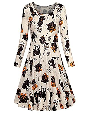 Furnex Women's Halloween Long Sleeve Scoop Neck Floral Casual Midi Party Dress