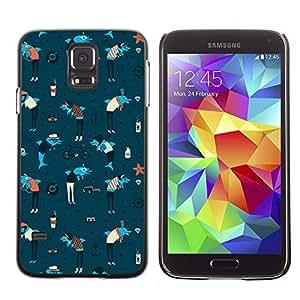 Smartphone Rígido Protección única Imagen Carcasa Funda Tapa Skin Case Para Samsung Galaxy S5 SM-G900 Dolphins Anchor Sea Art Wallpaper Colorful Blue / STRONG