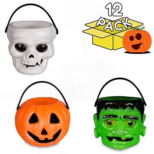 Windy City Novelties Mini Halloween Pumpkin Candy Bowl Holder Decor for Halloween Party (12 Pack) -