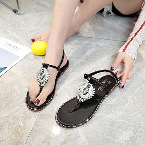 spiaggia da femminili Nero scarpe sandali JIA Estate bohémien sandali semplici gXwYnaRq